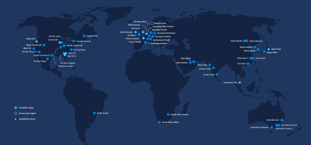 Azure Cloud Regions Map