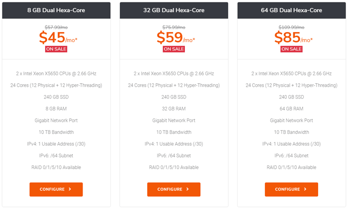 TurnKeyInternet dedicated plans comparison